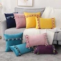 ins nordic soft velvet tassel pillowcase decoration sofa living room car housse de coussin 30x50 decorative pillows home decor