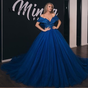 Robe de soiree Royal Blue Evening Dresses Long Tulle Ball Gown Off The Shoulder Sweep Train Formal Gowns Evening Party Dress Ves