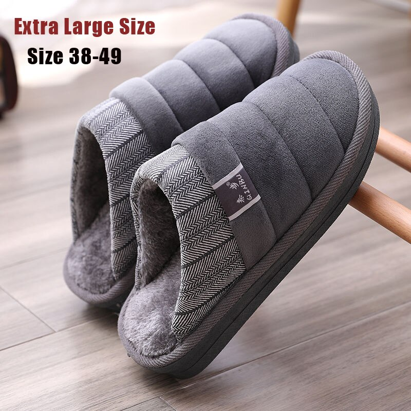 Men's Super Warm Slippers with Fur Slides Shoes Male Indoor Non-slip Rubber Slippers Men Fluffy Down Slippers Plus size 48 49