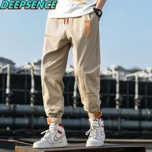 Men Spring And Autumn Party Cargo Pants Men Cotton Letter Drawstring Safari Style Loose Fit Fashion