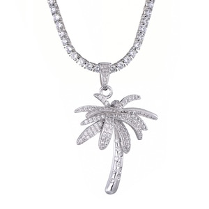 New Fashion Charm Hip Hop Bling Iced Out Micro Paved CZ Palm Tree Pendants & Necklaces for Men Rapper Jewelry with Tennis Chain