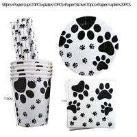 cartoon dog paw kids happy birthday disposable tableware cup plate napkin baby shower cute pet party supplies banner decoration