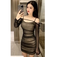 real shot 2019 new autumn fashion ladies retro temperament long sleeved casual sexy one neck slim bottoming dress