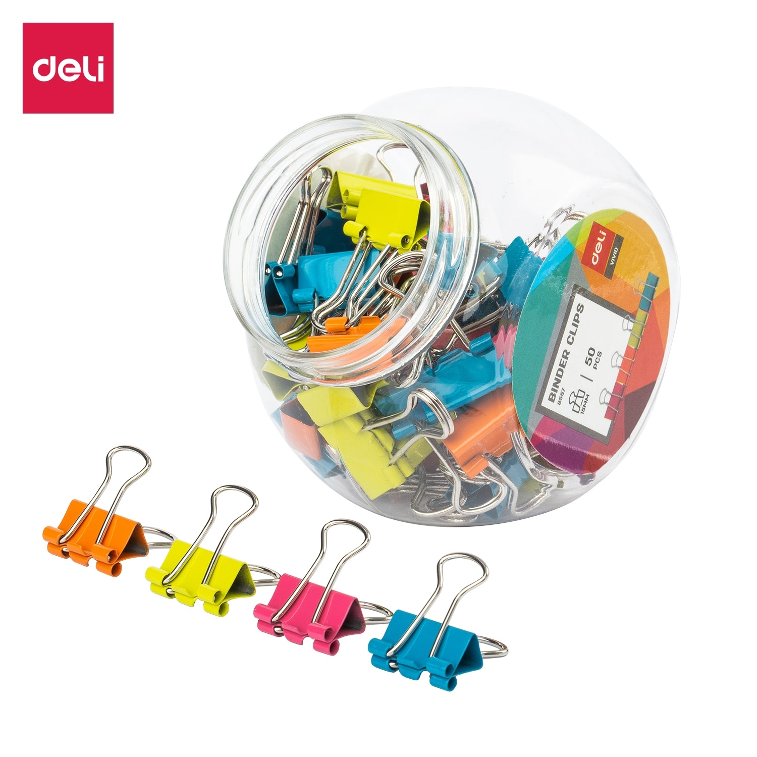 DELI 8557 Color Binder Clips 3 Sizes in Jar for books Files Binding stationery school office supplies Metal Paper Clip