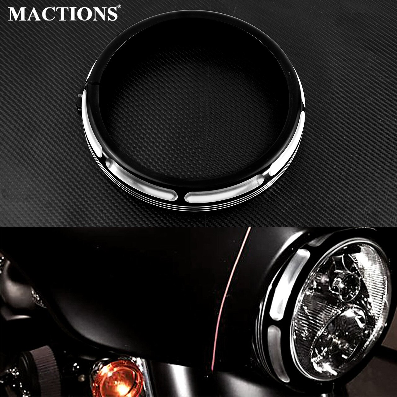 "Motorcycle 7"" Burst Headlamp Headlight Trim Ring For Harley Touring Street Glide Road King Electra Tri Glide FLHR FLHX FLTXR"