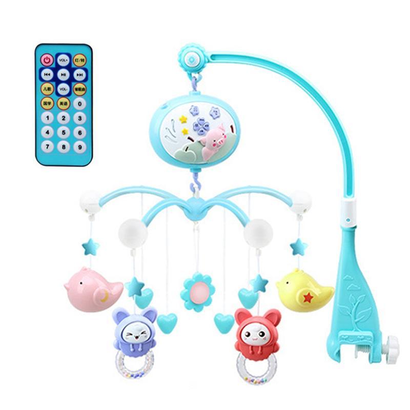 Musical bebé cuna juguete móvil niño cama campana con Animal sonajeros proyección dibujos animados juguetes de Aprendizaje Temprano (cerdo azul)
