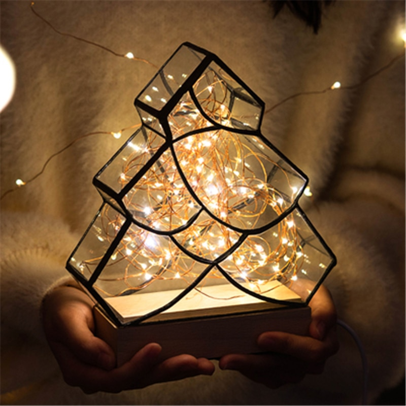 Nordic Christmas Tree LED Table Bedside Lamp Small Night Light Tree Silver Flower  Creative Birthday Gift Table Light enlarge
