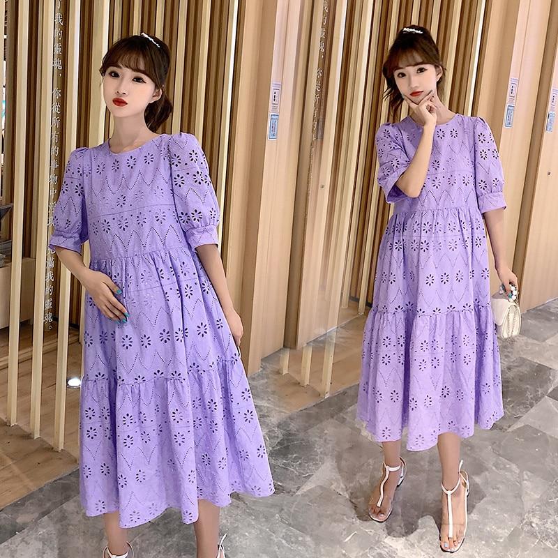 الصيف الكورية موضة فستان حمل الحلو أنيقة نفخة الأكمام الجولة الرقبة ملابس قطنية رقيقة للنساء الحوامل الحمل