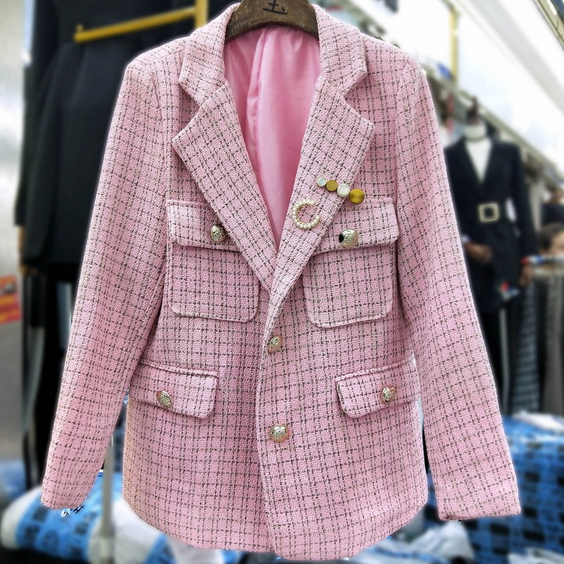 autumn winter vintage Luxury Woven Tweed Winter Jacket Long Sleeve vintage Women blazer