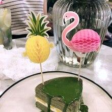 Gâteau Topper 10 pièces ananas flamant fruits cure-dents fleur signe de fête de mariage décoration pâques décoration de la maison accessoires