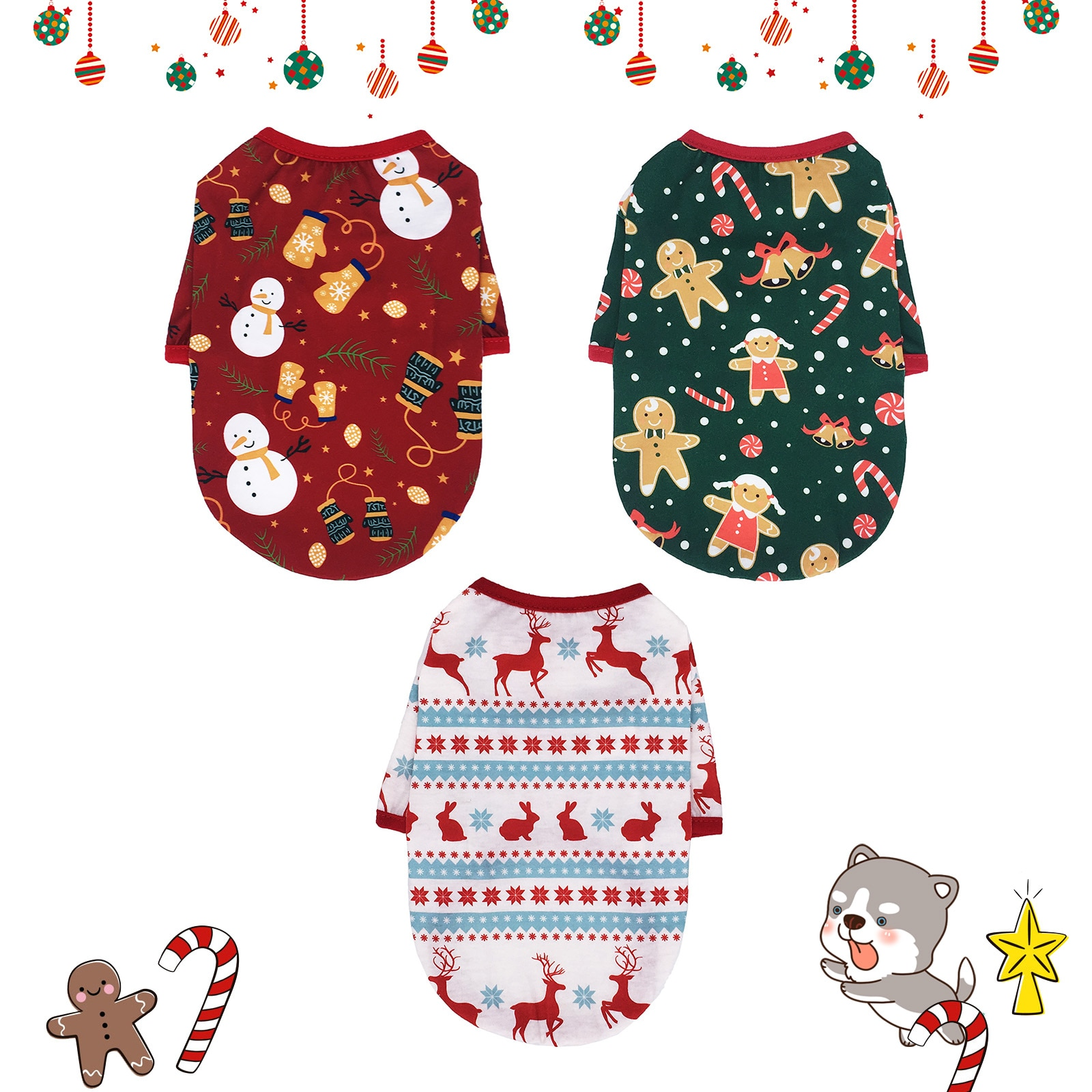 Dog Clothes Cheap Puppy Pet Vest Shirt Christmas Dog Clothing For Dogs Costume Cartoon Cat Pet Clothes For Small Dogs