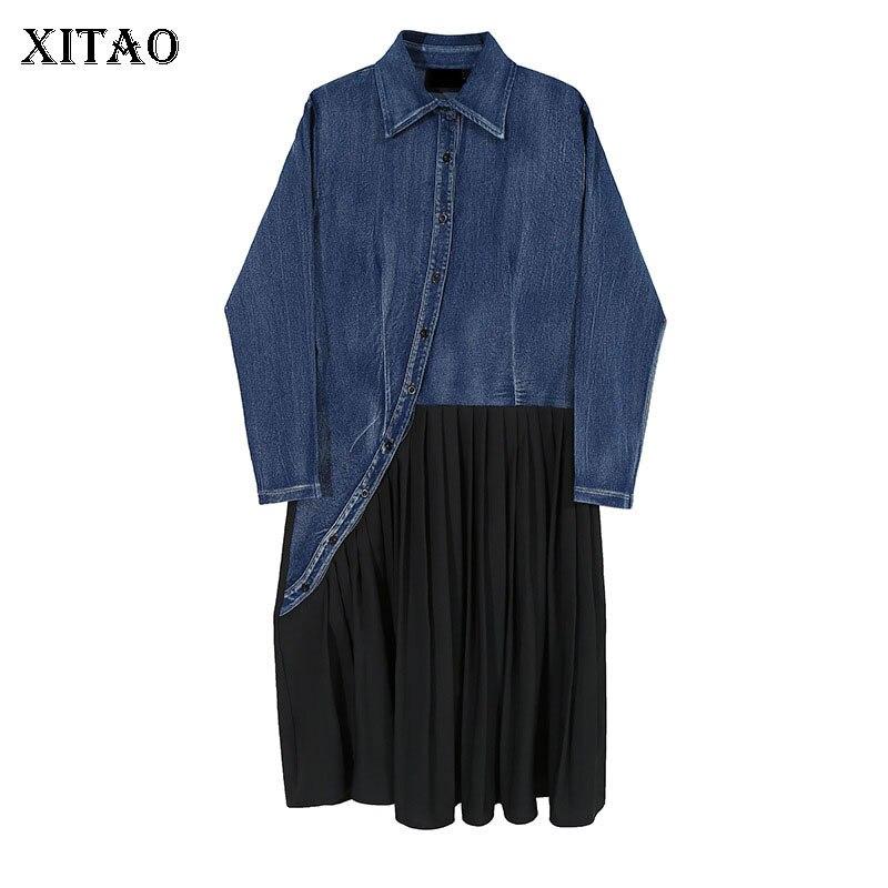 Xitao retalhos drapeado vestido feminino 2020 outono moda casual novo estilo temperamento volta cidade colarinho vestido de manga cheia zp3318