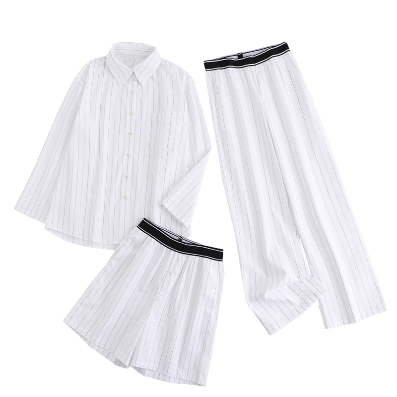 JC · KILIG الكورية 2021 الصيف مزاجه شريط طويل الأكمام قميص فضفاض مرونة الخصر الترفيه المنزل دعوى XL6250
