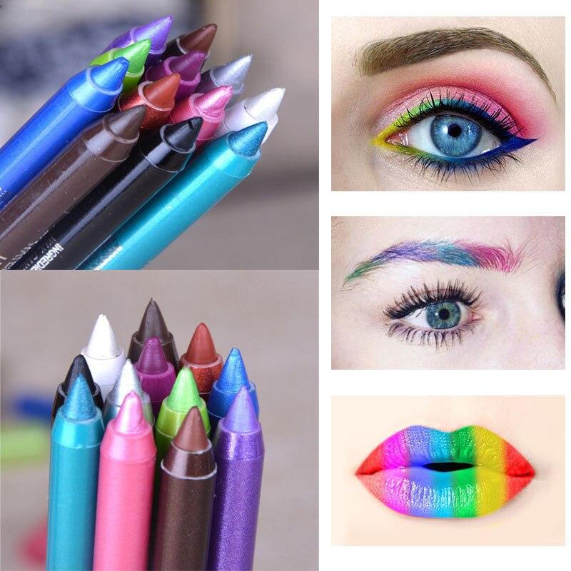 1 Uds Lápiz Delineador de ojos colorido de larga duración impermeable blanco azul delineador tinte lápiz sombreador de ojos herramientas de maquillaje ojos cosméticos