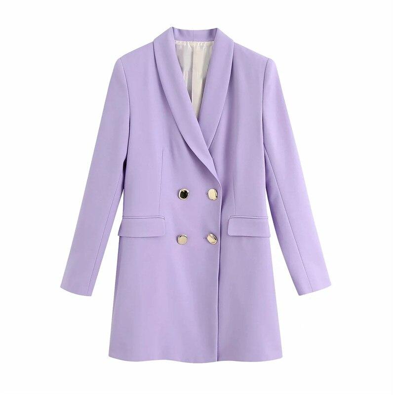 Verano chic lady za púrpura Chaqueta larga prendas de vestir Oficina moda doble pecho manga larga 2020 nuevas blazers mujeres casual chaquetas