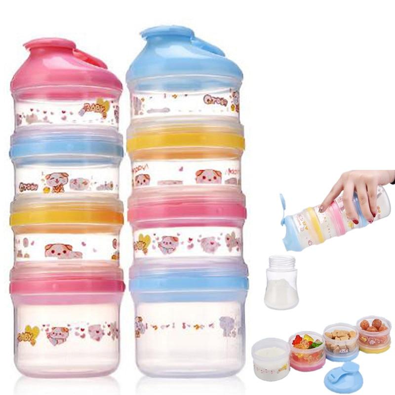 4-х слойный портативный детский диспенсер, коробка для хранения еды, необходимые хлопья, мультфильмы, сухое молоко, коробки для малышей, форм...