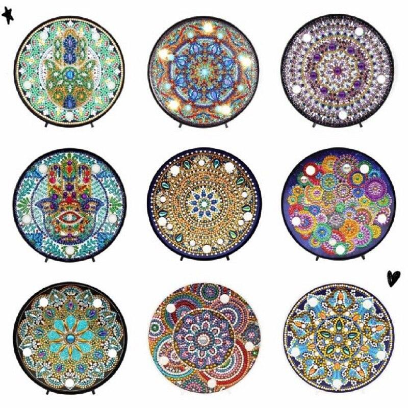 Lâmpada de mandala redonda para pintura, para paisagem, faça você mesmo, lâmpada bordada, broca completa ou especial, contas brilhantes redondas
