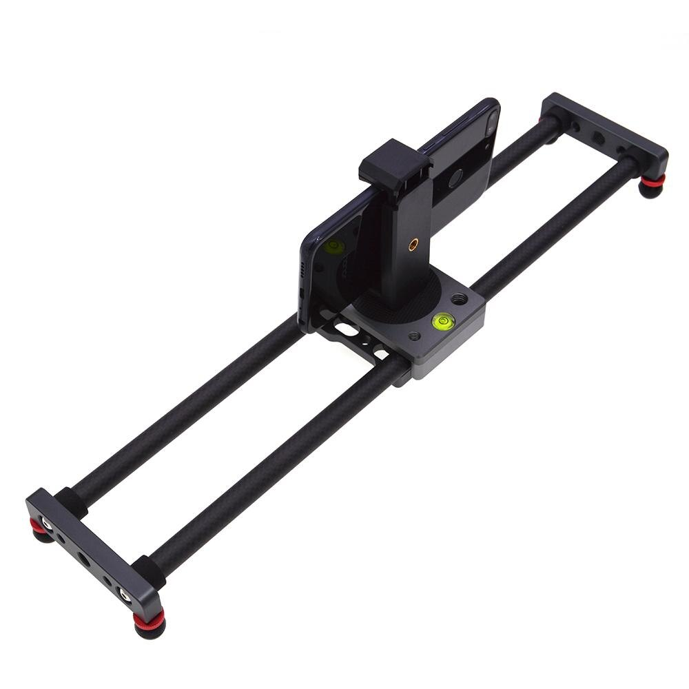 Deslizante de Fibra de Carbono Universal para Câmera Mini Trilho Desktop Rolamento-tipo Estabilizador Tripé Samrtphone