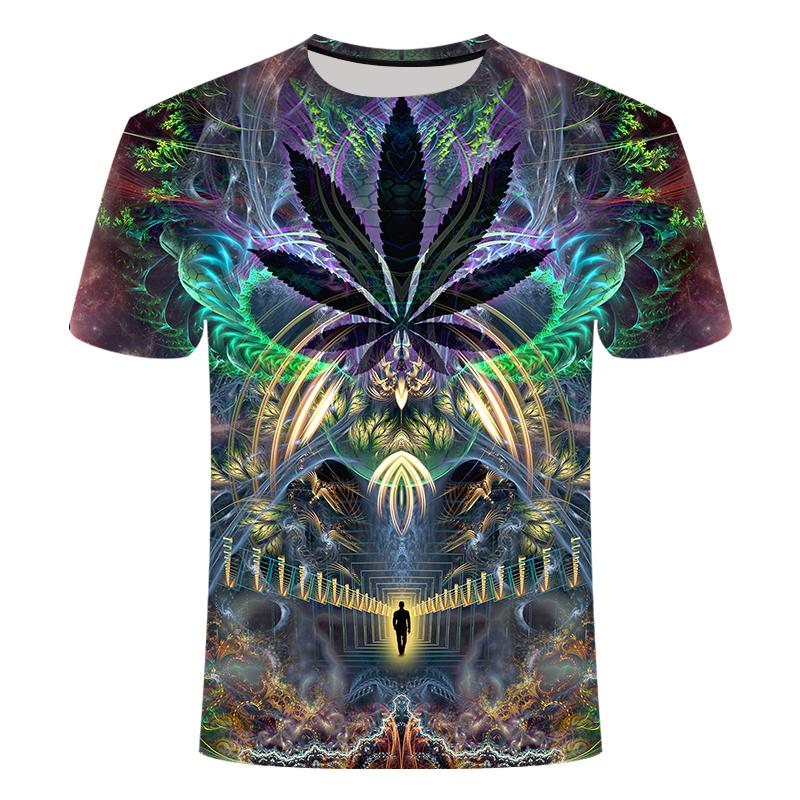 Summer New Men's T-shirt 3d Printing Colorful Galaxy Space Psychedelic Flower Women's Clothing/men's Short-sleeved T-shirt