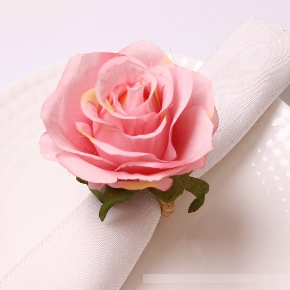 الغربية مطعم تقليد الورد زهرة منديل زر ، زفاف فندق الوردي ورد صناعي منديل الدائري القماش الدائري