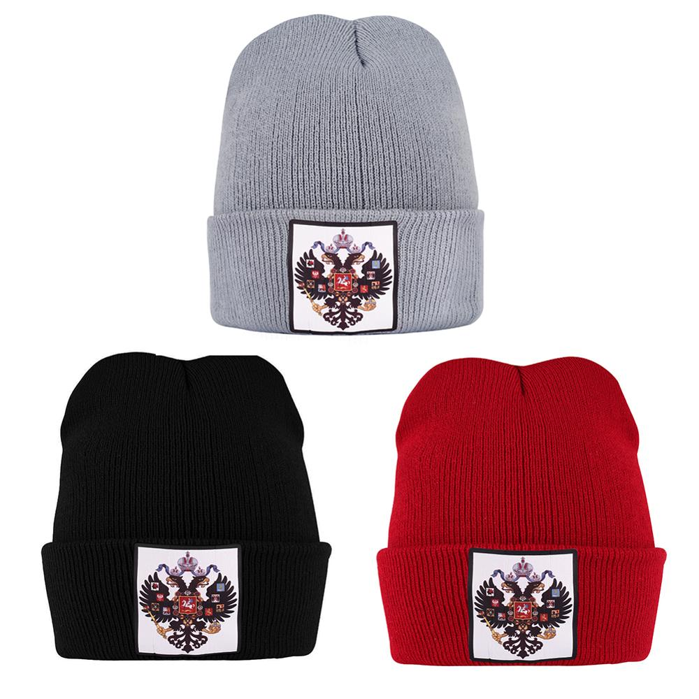 Antiguo ruso bandera imperio sombreros de punto para hombre mujeres invierno gorros finos cálidos otoño corto Niño sombrero para niña negro doble águila Skullies