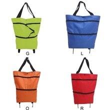 1 pièces sac de chariot à provisions Portable Oxford pliable sac de transport panier sacs à provisions réutilisables roues organisateur de Shopping roulant