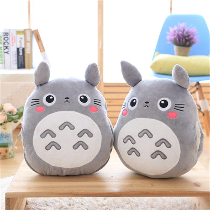 Mejor venta de mi vecino Totoro Peluche de juguete muñeco de peluche animal almohada calentador de la mano de tres-en-uno de cojín decoración gi