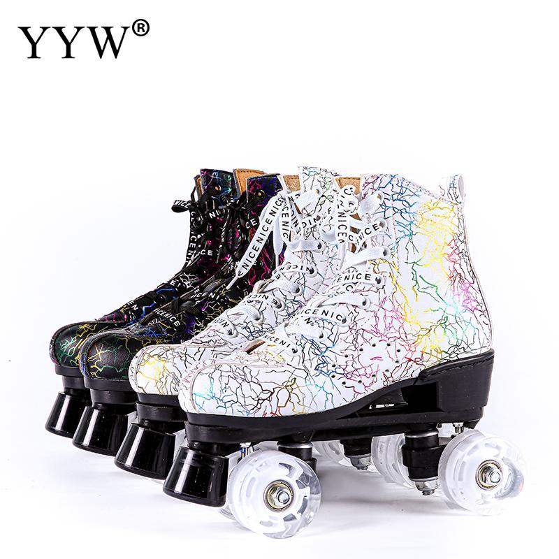 الكتابة على الجدران زلاجات دوارة النساء الرجال الكبار خطين بولي Leather الجلود مزدوجة خط التزلج أحذية التزلج Patines مع أربعة ألوان بولي PU 4 عجلات