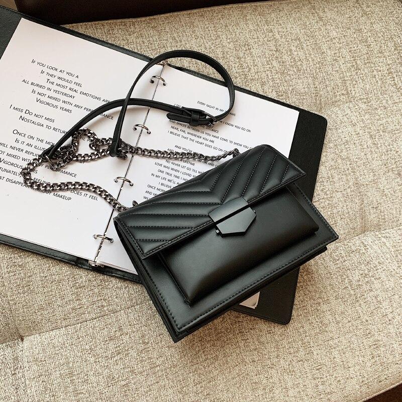 Ladies Fashion Chain Luxury Designer Brand Ladies Bag Casual Messenger Bag Black Small Square Bag Sh