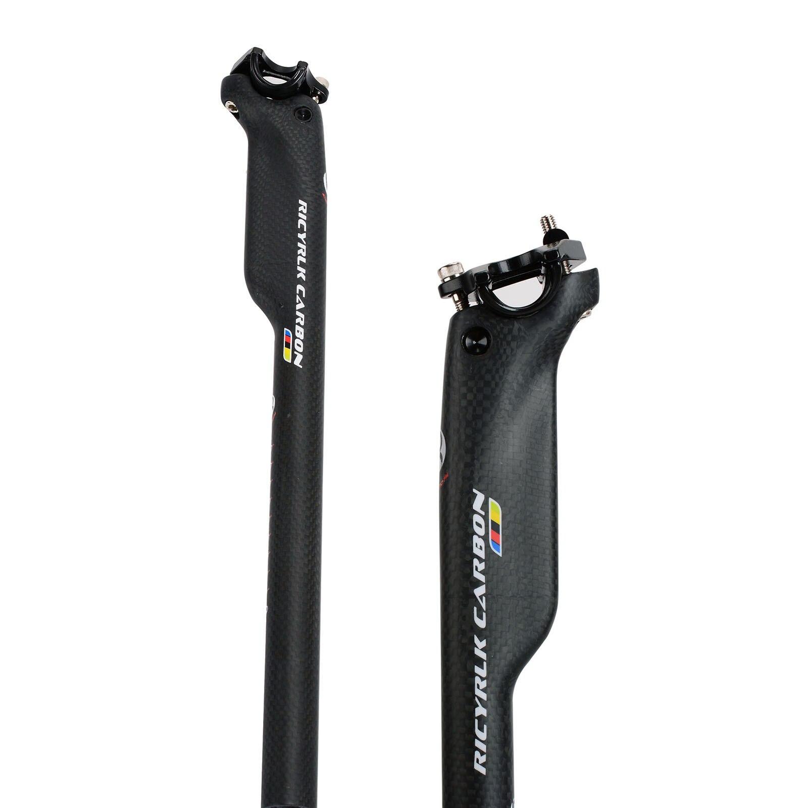 RICYRLK كامل إطار دراجة مصنوع من ألياف الكربون مقاعد الدراجة الجبلية 3K الطريق مقاعد كسر الرياح مقعد آخر 27.2/30.8/31.6*350/400 مللي متر