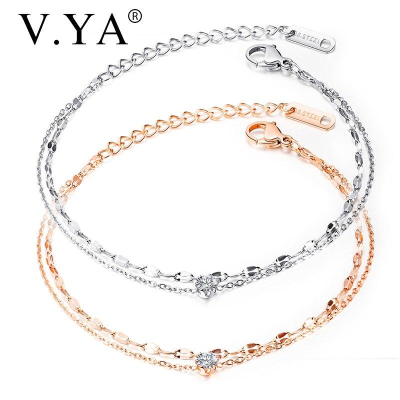 V.YA oro rosa titanio acero pulsera para mujer elegante compacto doble capa Acero inoxidable joyería pulseras brazalete