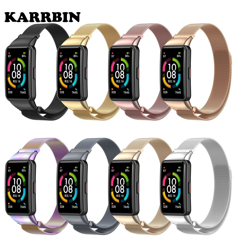 KARRBIN Metal Watchband for Huawei Band 6 Bracelet Strap Belt for Honor Band 6 Replacement Metal Wri