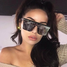 New Square Oversized Sunglasses Men 2021 Plus Size Sun Glasses Women Large Semi-Rimless Female Eyewe