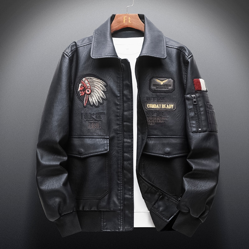 Autumn New Men 's Retro Leather Jackets Embroidery Outwear Casual Motorcycle Pu Jacket Biker Leather
