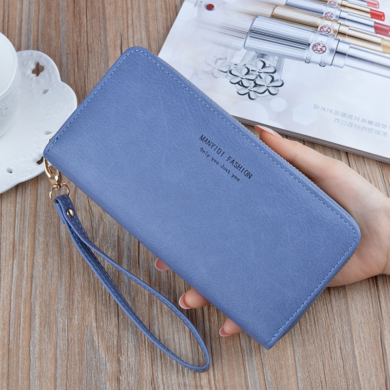 MONNET CAUTHY New Long Wallets PU One Zipper High Capacity Multifunction Multi-card slot Purse Practical Vintage Casual Wallet