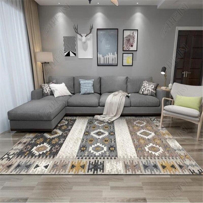 سجادة بوهيمية ريترو لغرفة المعيشة وغرفة النوم وطاولة القهوة ، سجادة كبيرة على الطراز الاسكندنافي والعرقي ، سجادة أرضية مطبوعة ، ديكور منزلي