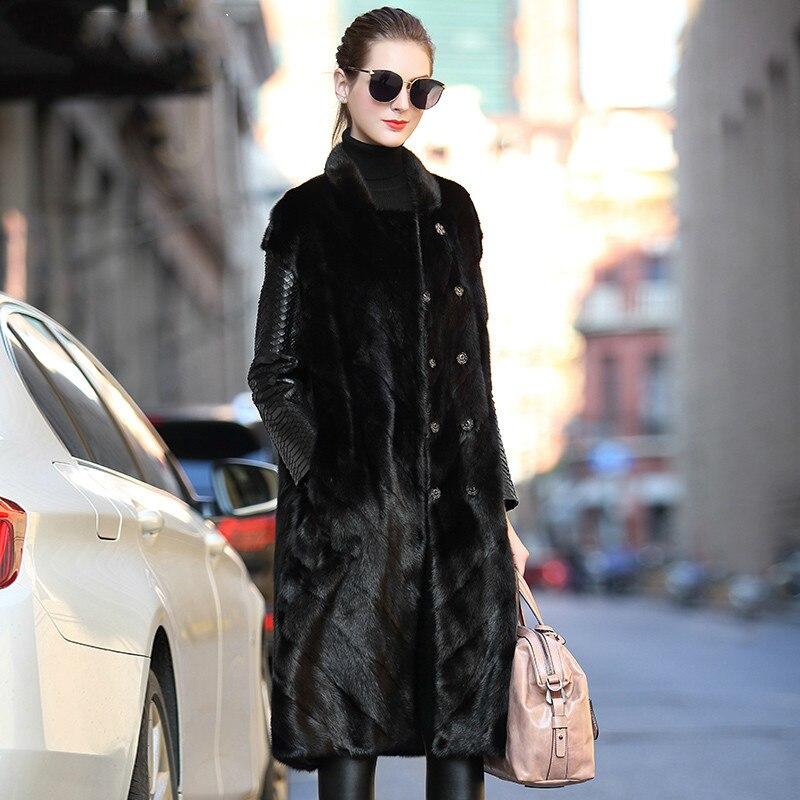 Abrigo de piel Real Natural chaqueta de cuero genuino abrigo de invierno ropa de mujer 2020 Piel de visón abrigo de piel de oveja de doble cara ZT4033
