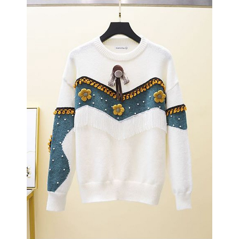 Lazy Style Design Contrast Sweater Loose Outer Wear New Autumn and Winter Western Style Thick Tassel Top Women enlarge