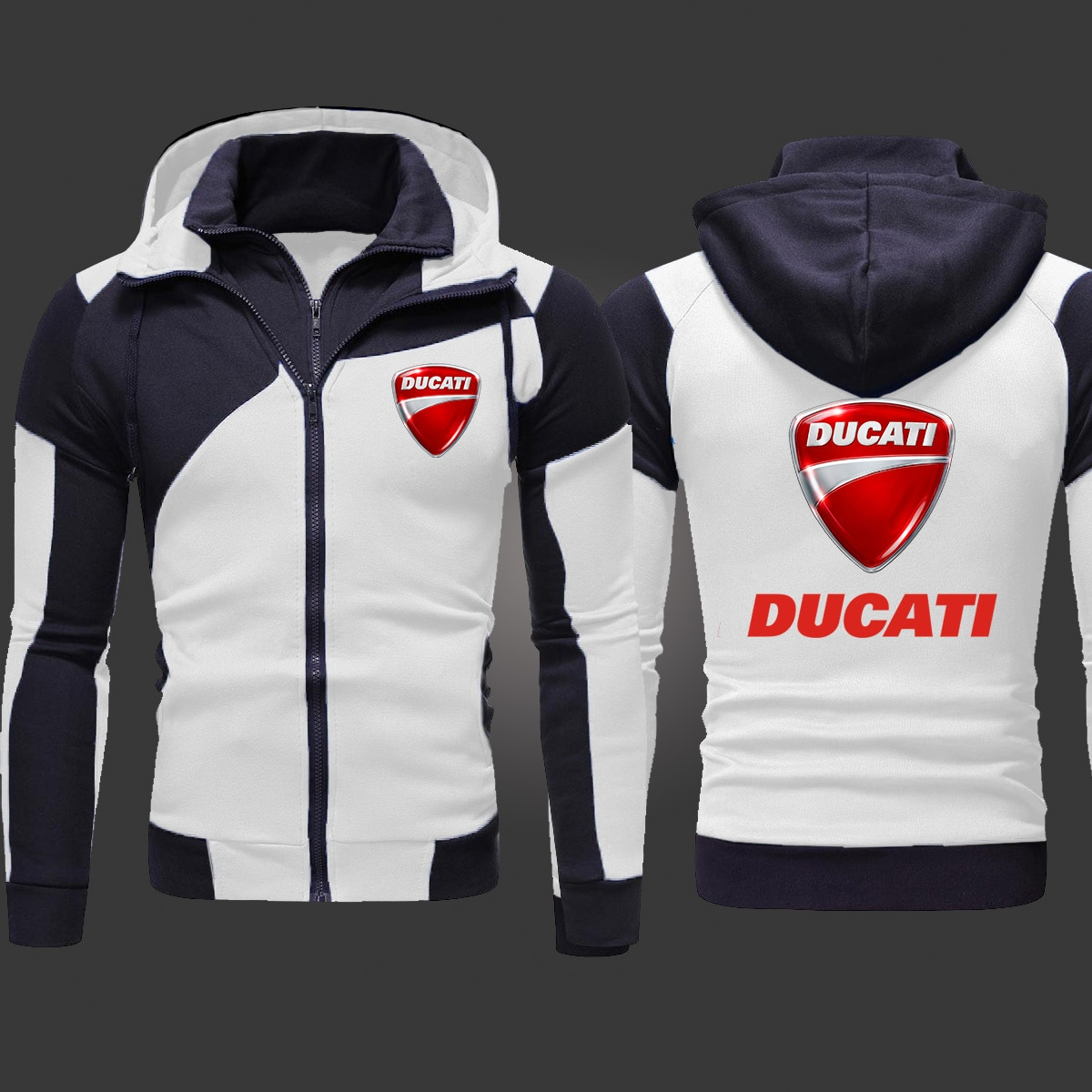 2021 New Ducati Motorcycle Men's Fashion Outwear Jacket Slim Fit Zipper Hooded High Quality Harajuku Hoody Casual Hoodies S-3XL
