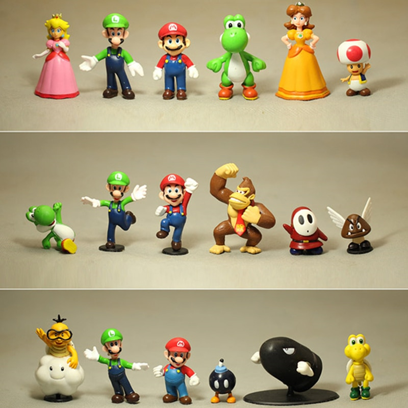 Lote de 18 unidades de Super Mario Bros. Dinosaurio Gici, sapo Peach, Cuba, acción de PVC, modelo para hornear pasteles Decoración