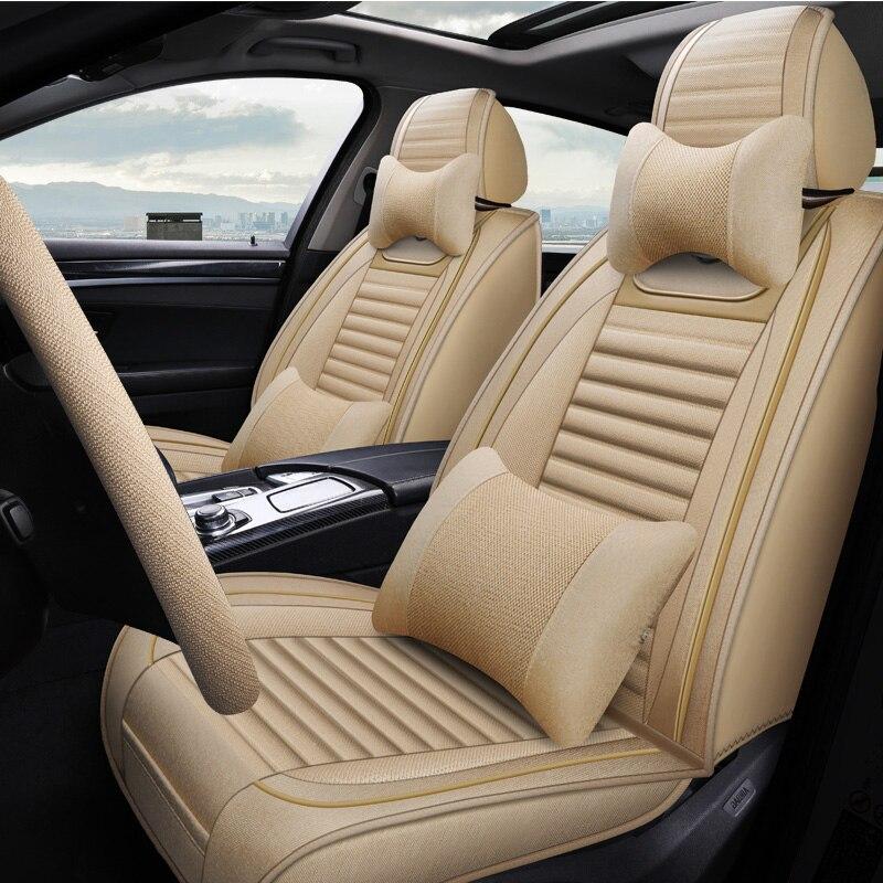 (Frente + traseira) 5 assentos de linho capa de assento do carro para mitsubishi asx colt evo lution galant grandis l200 lancer 10 9 x evo carisma montero