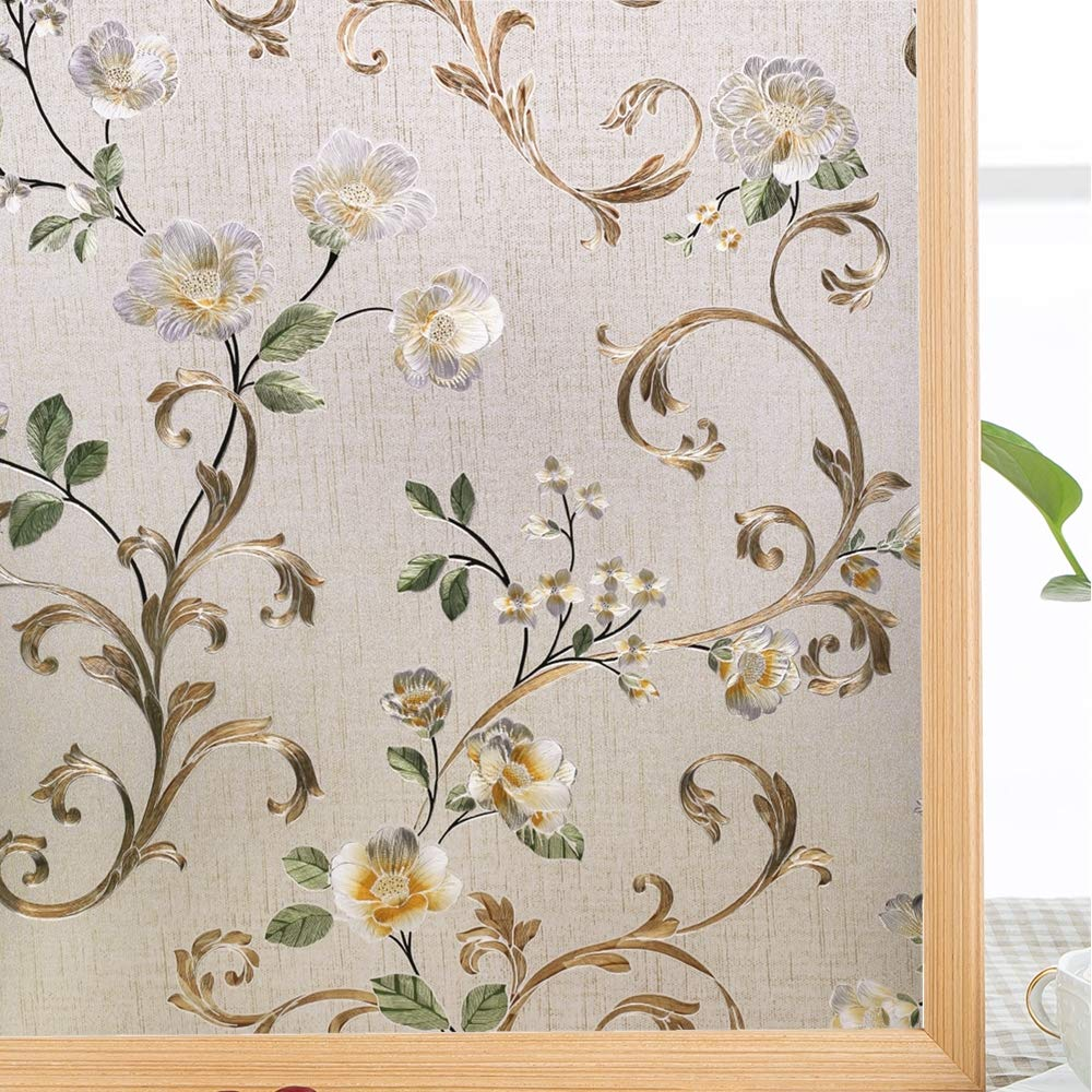 LUCKYYJ 3D Decorative Window Glass Sticker, Vinyl Self-adhesive Tint Films ,Stained for Home Office