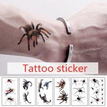 Heißer 3D Spinne Tatoo Skorpion Temporäre Tattoo Aufkleber Für Frauen Und Männer Für Halloween Gefälschte Tattoo Körper Kunst Witz