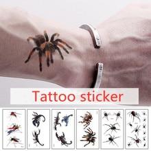 Hot 3D Spider Tatoo Scorpion Temporary Tattoo Stickers For Women And Men For Halloween Fake Tattoo Body Art Joke
