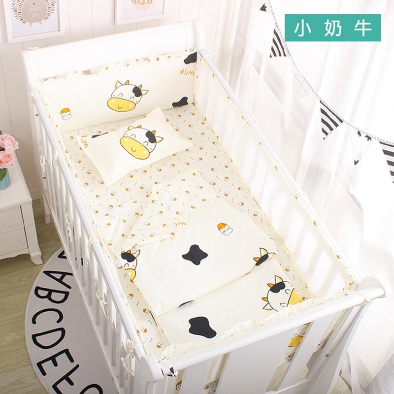 Korean Ins Baby Cot Cotton Bumpers Set With Breathable Mesh Newborn Baby Accessories Bed Decoration Cushion Children Beddings