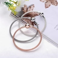 hot real 925 sterling silver new classic round head letter silver silk woven bracelet fit charms bracelets women diy jewelry