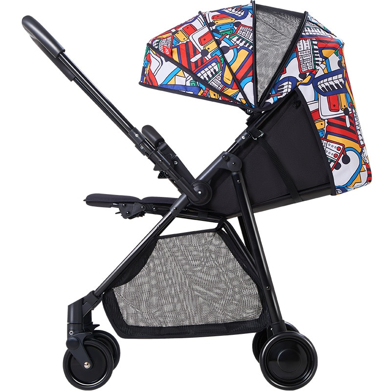 High Landscape Two-way Stroller Can Sit and Lie One-key Folding Four-wheel Shock-absorbing Portable Stroller