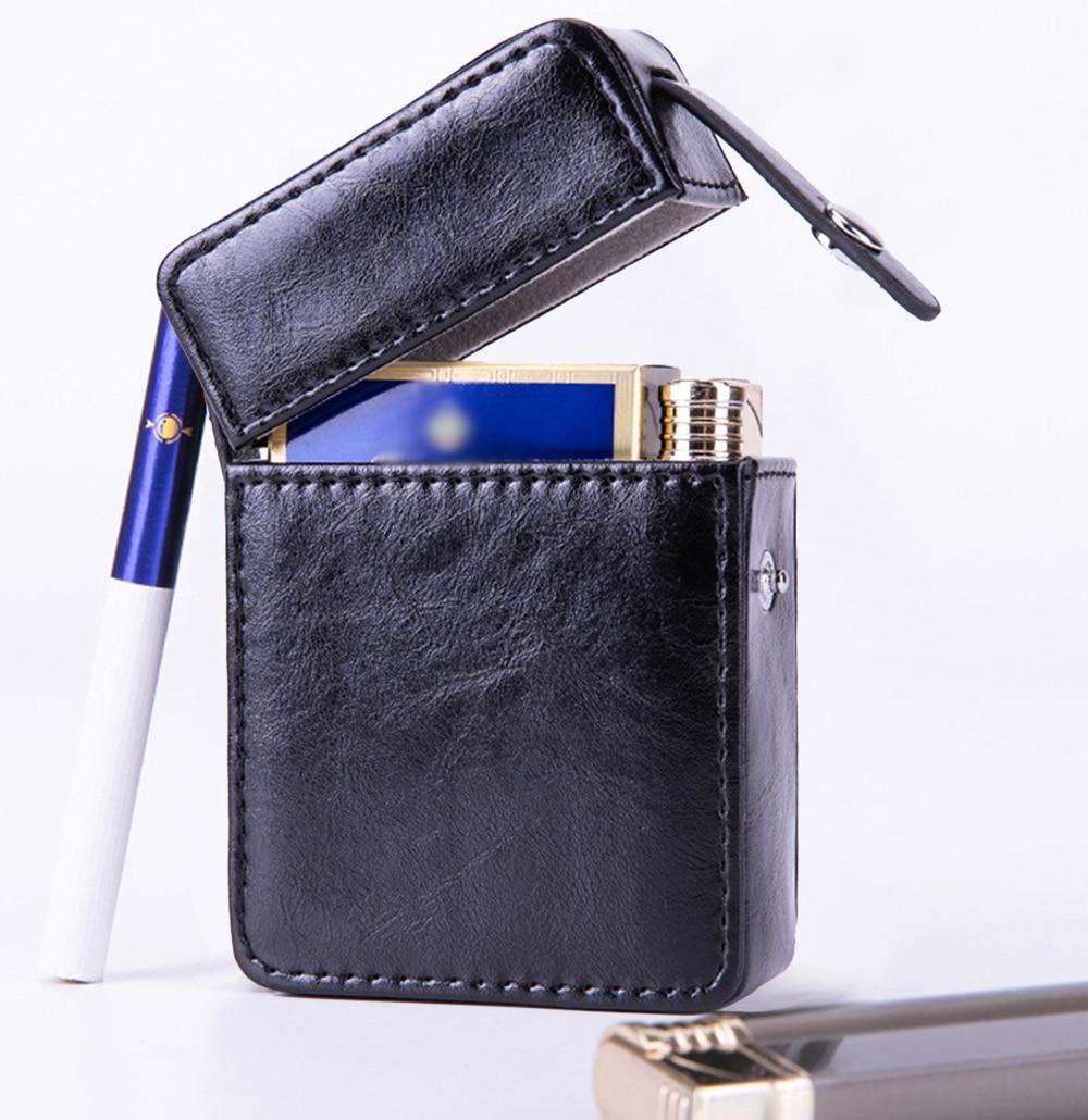 Retro Leather Cigarette Box Lighter Holder Tobacco Tube Storage Thick Cigarette Case Cigar Cigarette