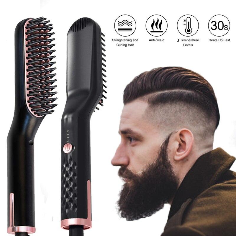 Men Beard Straightener Hot Heating Comb Hair Straightener Brush Mutifunctional Hair Comb Smoothing I