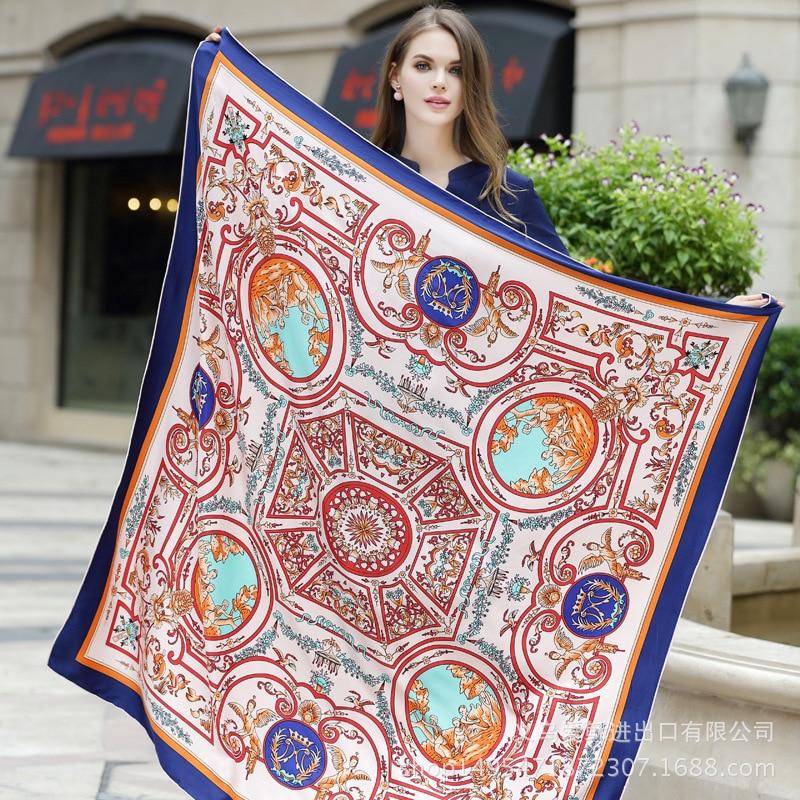 Bufanda cuadrada de sarga de seda para mujer, pañuelo grande de 130x130cm, entrega aleatoria